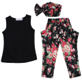 Summer Girls Clothing Sets Cotton Fashion Kids Clothes Flower Baby roupas infantis menina Children Costume 3pcs