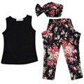 Verano Que Arropan Algodón de los Niños Ropa de Moda Bebé de La Flor roupas infantis menina Niños Traje 3 unids