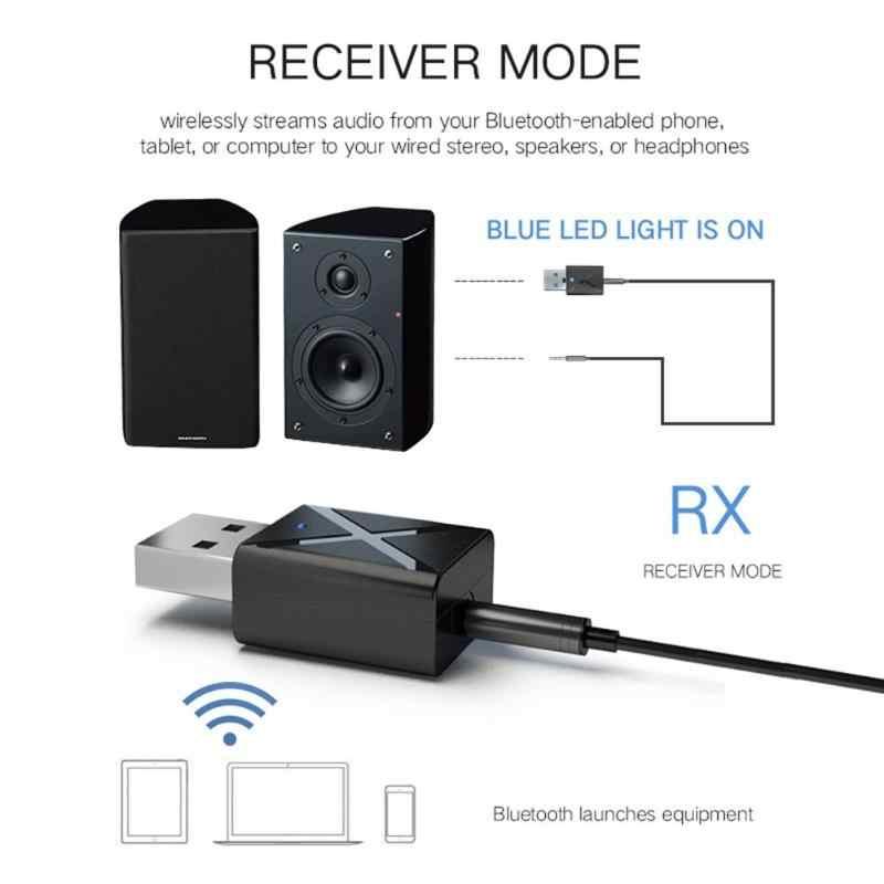 USB インターフェイスの bluetooth 5.0 受信トランスミッタ Aux ステレオ受信機 FM トランスミッタ 2 · イン · 1 車やテレビ ter 4 モードスイッチング