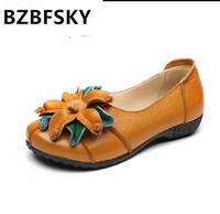 BZBFSKY Genuine Leather Women Casual Shoes National Style Flowers Ballet Flats Handmade Retro Summer Flat Shoes Woman