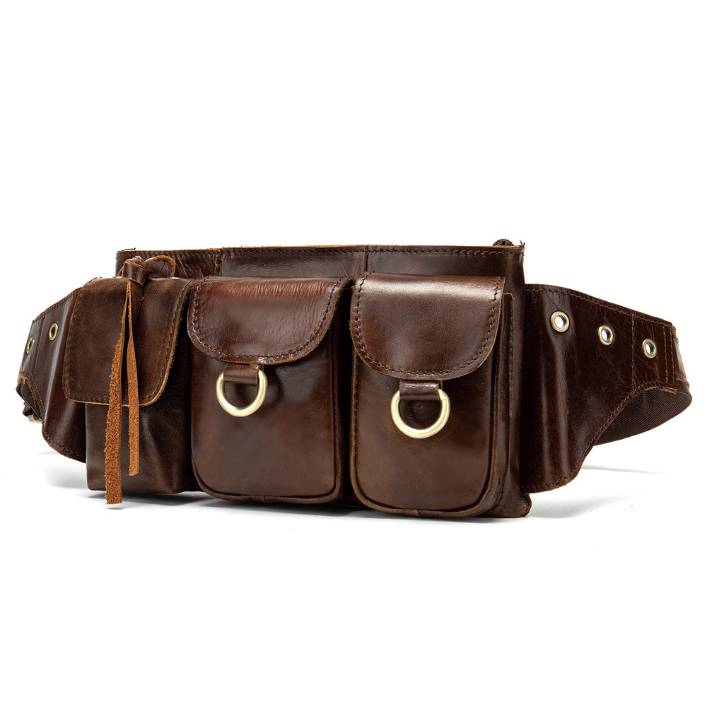 Waist Bag Men Genuine Leather Fanny Pack Fashion Belt Bum Bag Man Phone Pouch Casual Shoulder Chest Bag Mini Waist Hip Back Pack