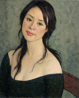 Portrait Canvas Paintings Contemporary Chinese Art Masterpiece Reproduction Graceful Girl In Black Modern Art Posters