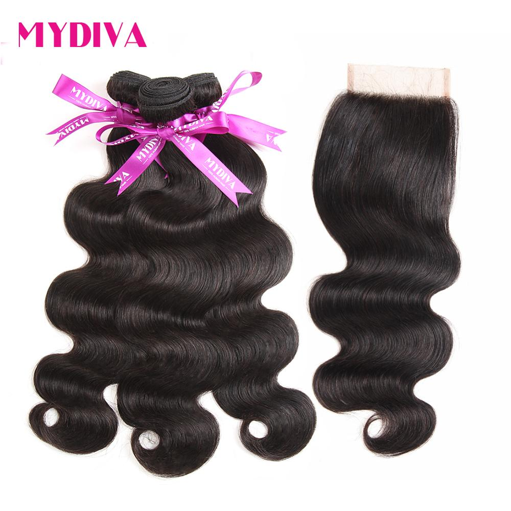 Mydiva Peruvian Body Wave Human Hair Extension 3 Bundles With Lace Closure 4Pcs Lot Non Remy