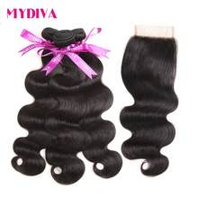 Mydiva Peruvian Body Wave Human Hair Extension 3 Bundles With Lace Closure 4Pcs/Lot Non-Remy Hair Weaving Bundles With Closure(China)