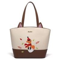 DuoLaiMi 2017 Fox Animal Prints Big Cartoon Leather Bag European American Style Casual Tote Women Shopping