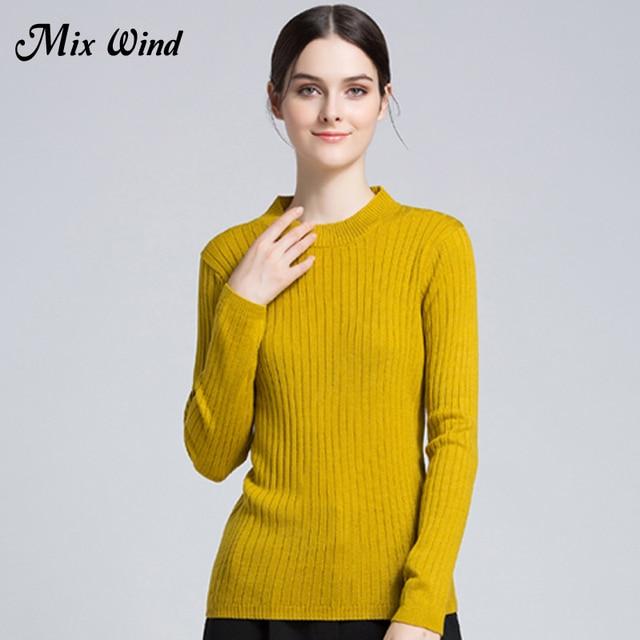 Смесь ветра осень 2017 г. и Новинка зимы Для женщин круглый Средства ухода за кожей шеи свитер Для женщин с длинным рукавом Однотонная одежда удобный свитер