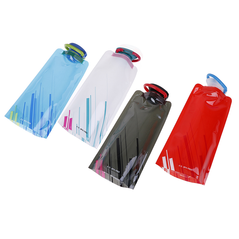 1L Portable Folding Plastic Pouch Bladder Sport Bags For Camping Hiking Picnic Outdoor Foldable Light Drinking Water Bottle Bag
