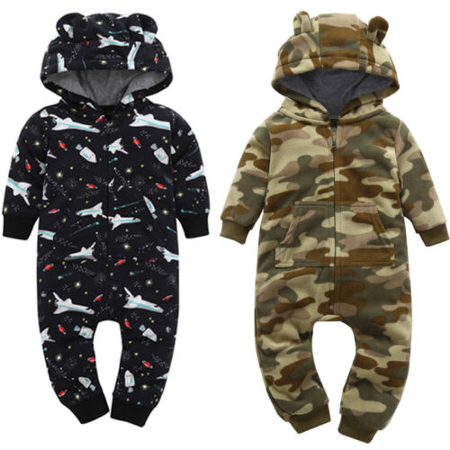 Emmababy Toddler Newborn Baby Infant Boy Girl Long Sleeve Romper Hooded Jumpsuit Outfits Clothes ...