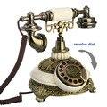 European Fashion Telefono Vintage Piastra Girevole Manopola Rotativa Telefoni Antichi Telefono Fisso Home Office Hotel fatto di resina