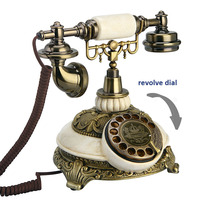 European Fashion Vintage Telephone Swivel Plate Rotary Dial Antique Telephones Landline Phone Office Home Hotel made of resin