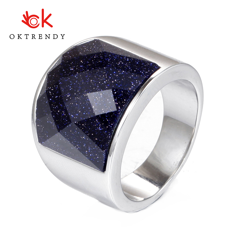 Oktrendy  High Quality Mens Ring Black Polished Stainless Steel Jewelry Silver Color Charm For Men Neo-gothic