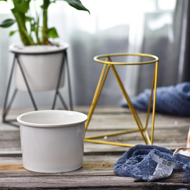 Nordic Style Geometric Iron Rack Holder Metal Stand with Ceramic Planter Desktop Garden Pot for Succulents Plants Home Decor