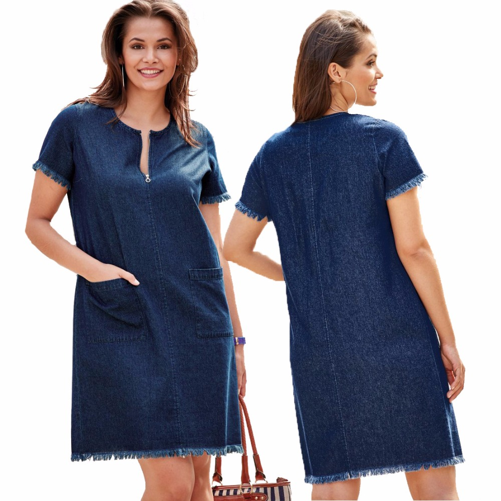 cf2e46c07c Women Blue Denim Jeans Casual Loose Mini Dress Plus Size summer Short  Sleeve Front Zipper Double Pockets Tassel Dress