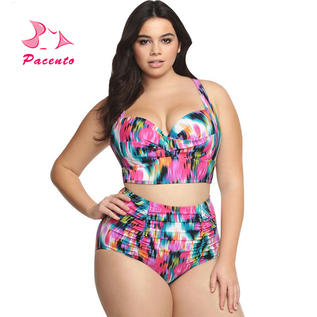 8f81191997eaf Push Up High Waist Bikini 2017 5XL 4XL 3XL Big Size Women Bathing Suit  Print Swimsuit
