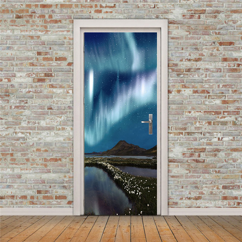 Free shipping Moutain under stars Wall Stickers DIY Mural Bedroom Home Decor Poster PVC Waterproof Door Sticker 77x200cm