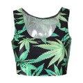 Regata feminina nuevas 2015 del verano mujeres de moda weed Leaf blusas atractivas del tanque Tops chaleco corto