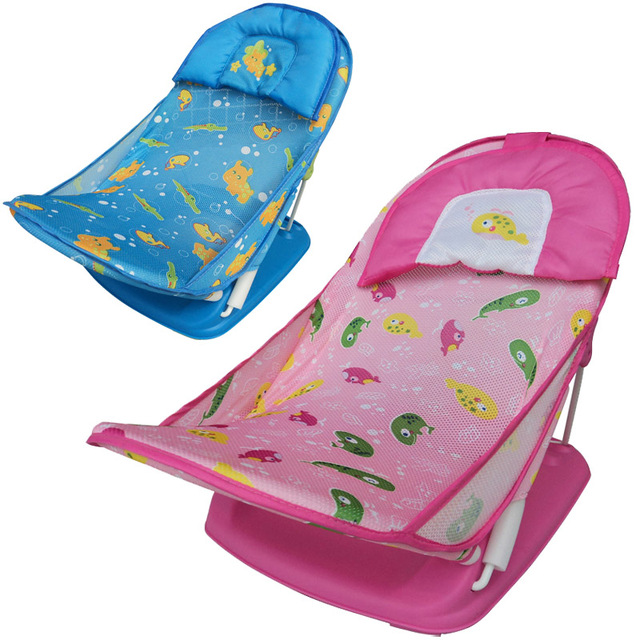 Baby Care Newborn Baby Bather Deluxe Bath Rack Shower Chair Infant folding Sip-resistant Bath Chair with Soft Mesh 0 to 7 Months