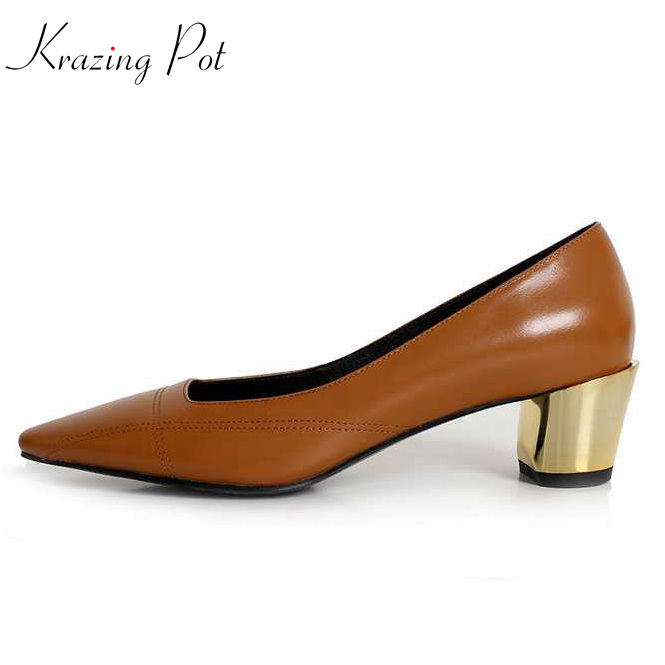 Krazing Pot 2018 shoes women fashion metal med heels genuine leather pumps slip on shoes round toe elegant office lady pumps L04 krazing pot sheep suede summer elastic band thin med heels beading pointed toe slip on women sexy office lady pumps shoes l96