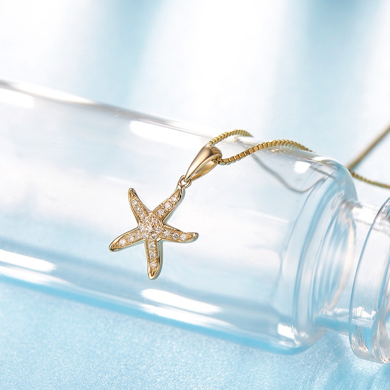 18K Yellow Gold Genuine Natural font b Diamond b font Starfish Pendant font b Necklace b