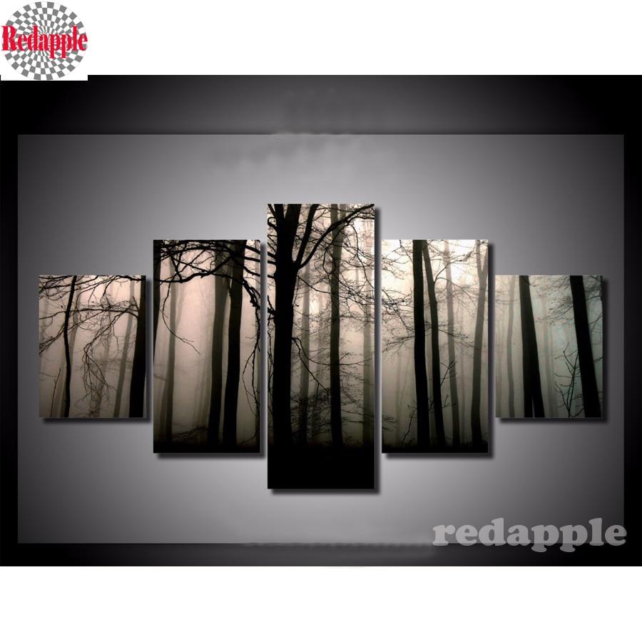 Bricolage carré complet diamant peinture sombre forêt multi-images combinaison 3d broderie point de croix mosaïque décor cadeau 5 pièces/ensemble