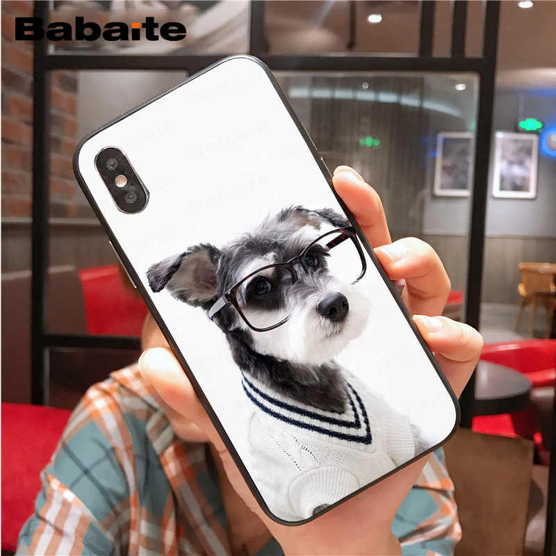 Para iphone 11pro max schnauzer Miniatura do filhote de cachorro dog Caixa do telefone para iphone 8 7 6 6S Plus X XS MAX 5 5S SE XR Tampa