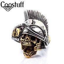 Фотография cool rock titanium Greek soldiers skull ring for men,2017 punk jewelry man 316L stainless steel skeleton men