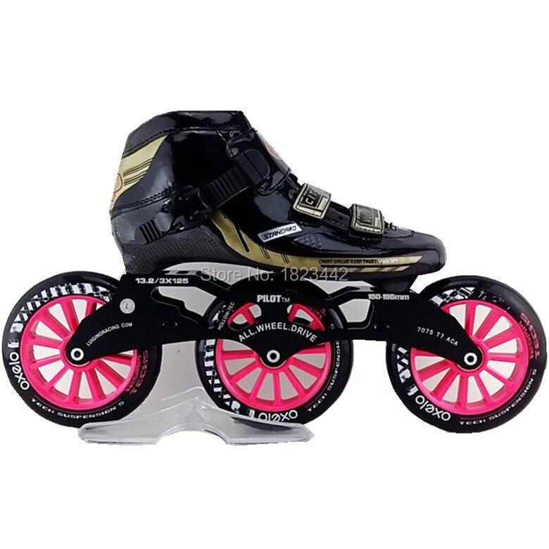Prix pour En Stock CITY inline chaussures de patinage de vitesse adultes des enfants professionnels patins de patinage chaussures 3 * 120 mm roues de patinage