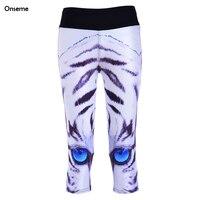 Mode Bleu Yeux Leggings Bande Dessinée Tigres Blancs Legging Sexy D'été Leggins Capris Pour Femmes Aventure 7 Point Pantalon CJO-280