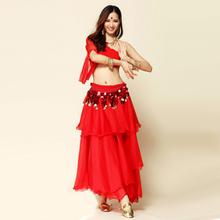 Belly Dance Costume (Top+Skirts+Waist Chain) Indian Dress 8colors Belly Dancing Dance Wear For Women Indian Skirt Suits