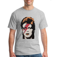 New Arrivals Fashion Rock David Bowie Poster T Shirt Men S Star Bowie Colorful Face T