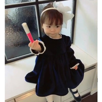 ANKRT Spring INS French Romantic Custom Baby Velvet Children Dress Lace Dress Ancient Palace Wind Kids