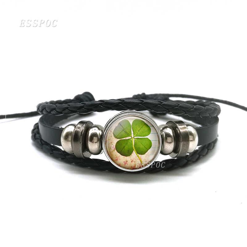 Szczęśliwa bransoletka moda koniczyna Shamrock szkło Cabochon przystawki przycisk wielowarstwowa skórzana bransoletka ręcznie robiona biżuteria prezent dla przyjaciół