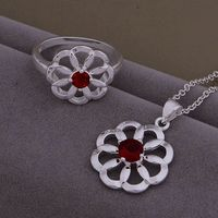 AS431 Hot 925 sterling  silver Jewelry Sets Ring 588 + Necklace 905 /aqxajiea axkajora