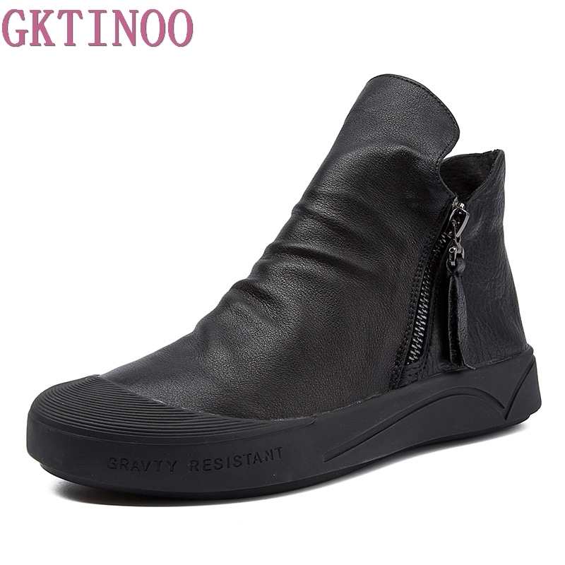 GKTINOO Fashion Handmade Shoes For Women Genuine Leather Ankle Boots Vintage Flat Women Shoes Round Toes Martin Boots black women ankle boots handmade vintage medium heel round head shoes elegant boots xiangban