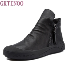 GKTINOO Fashion Handmade Shoes For Women Genuine Leather Ankle Boots Vintage Flat Women Shoes Round Toes Martin Boots