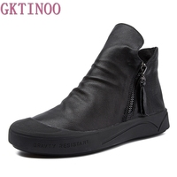 GKTINOO Fashion Handmade Shoes For Women Genuine Leather Ankle Boots Vintage Flat Women Shoes Round Toes