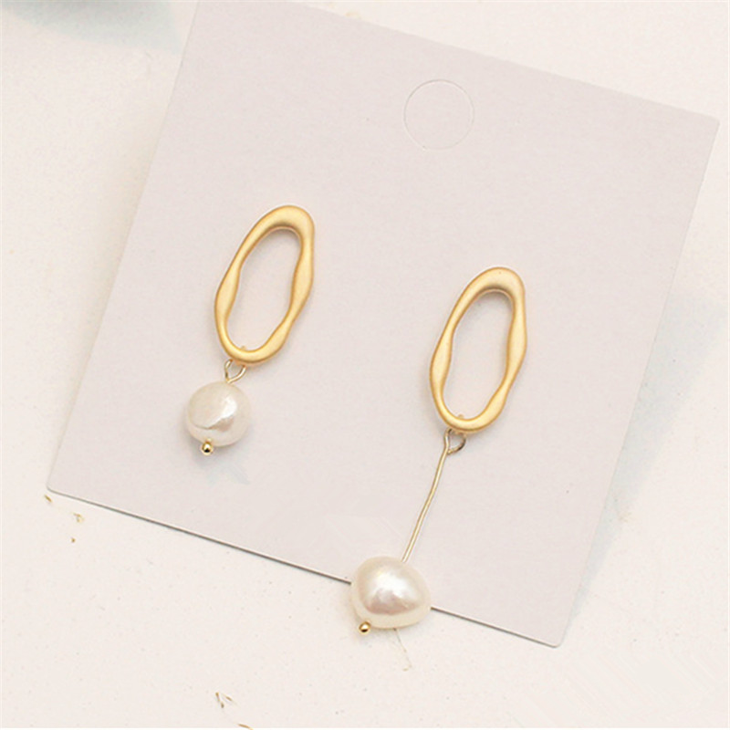 Original design matte gold earrings minimalist freshwater pearl temperament beautiful Wholesale fashion lady