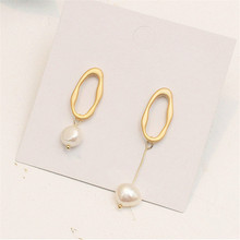 Original design matte gold earrings minimalist freshwater pearl temperament beautiful Wholesale fashion lady