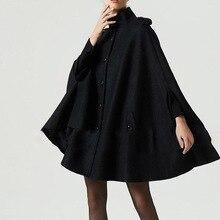 Готический женский шерстяной плащ, пальто на пуговицах, свободная повседневная верхняя одежда, уличный стиль, Осень-зима, теплое пальто, женский черный топ, пальто