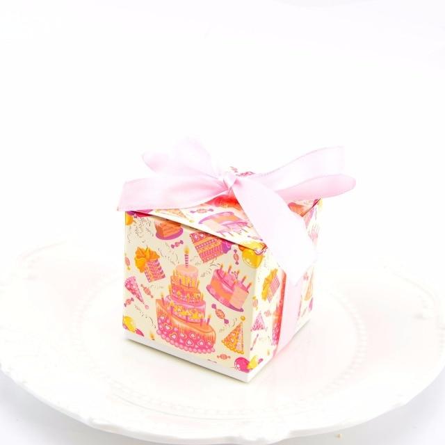 20pcs Happy Birthday Gift Box Babys Cartoon Cake Toys Candy 1st Bag With Silk Ribbon