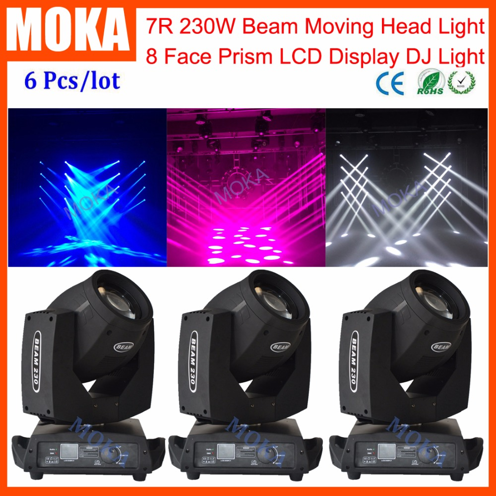 6 Pcs/lot 7R Moving Head Spot Gobo Light DMX  Beam 230W Pro Light вращающаяся голова beam sz audio pro 7r 230w beam spot