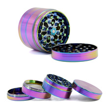 4 Layers 50mm 54mm 63mm Colorful Herb Grinder  Crusher Zinc Tobacco Smoke Ice Blue Rainbow Color for Hookah Pipe