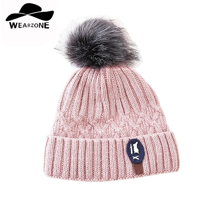 2017 new knitted hat Women big Faux Fur pom pom Caps Crochet Hats For Women Winter