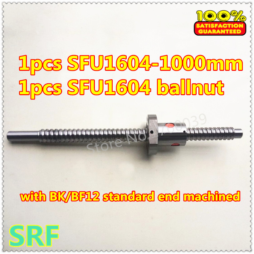 Best price SFU1604 16mm Ballscrew L1000mm:1 pcs SFU1604 Ball lead screw L1000mm C7+1pcs ballnut with BK/BF12 end machined cnc sfu3210 ball screw l1000mm ballscrew 1pcs single ballnut