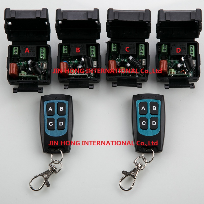 цена на New AC 220 v 1 ch RF wireless remote control switch 4 receiver +2 transmitter With 4 buttons