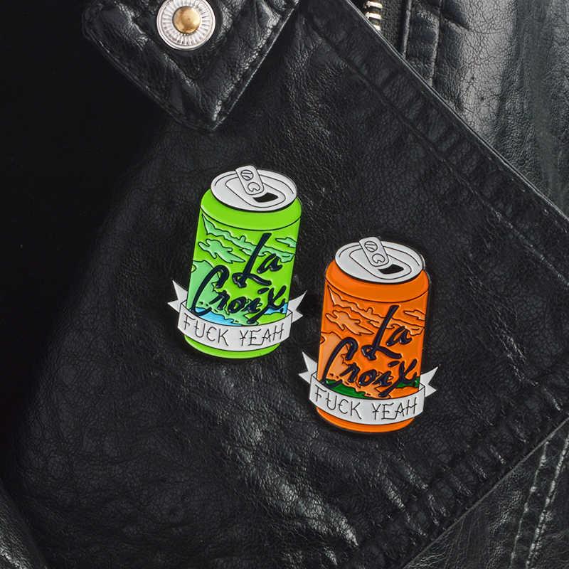 กระป๋องเข็มกลัดริบบิ้น FxxK ใช่พจนานุกรม Croix เครื่องดื่มผลไม้กระป๋องโค้กขวดเคลือบ Pin Denim Lapel แฟชั่นอุปกรณ์เสริมเพื่อนของขวัญ