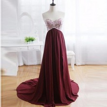 Real Image Long Burgundy Prom font b Dress b font 2017 Empire Sexy Backless Sweetheart Beaded