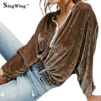 Singwing Women Velvet V Collar Loose Blouse Casual Velvet Long Sleeved Velvet Shirts Long Sleeve Women