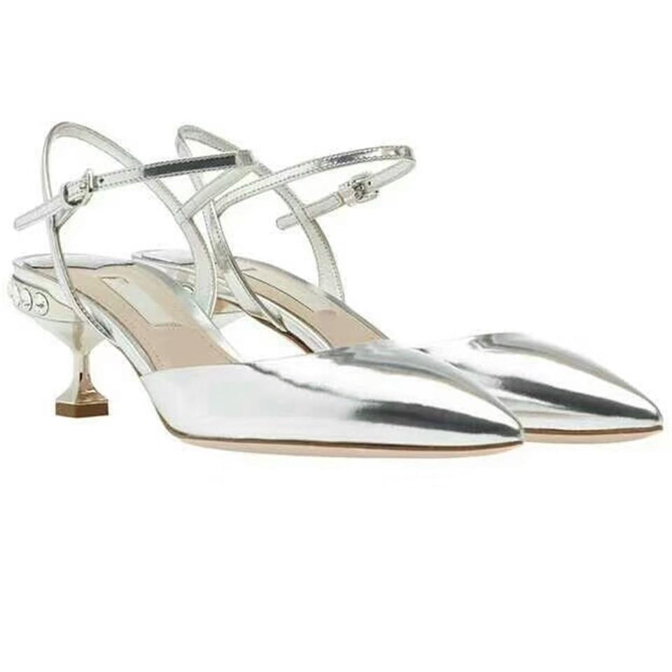 2019 summer new fashion women sandals pointed toe rhinestone baotou buckle silver stiletto shoes