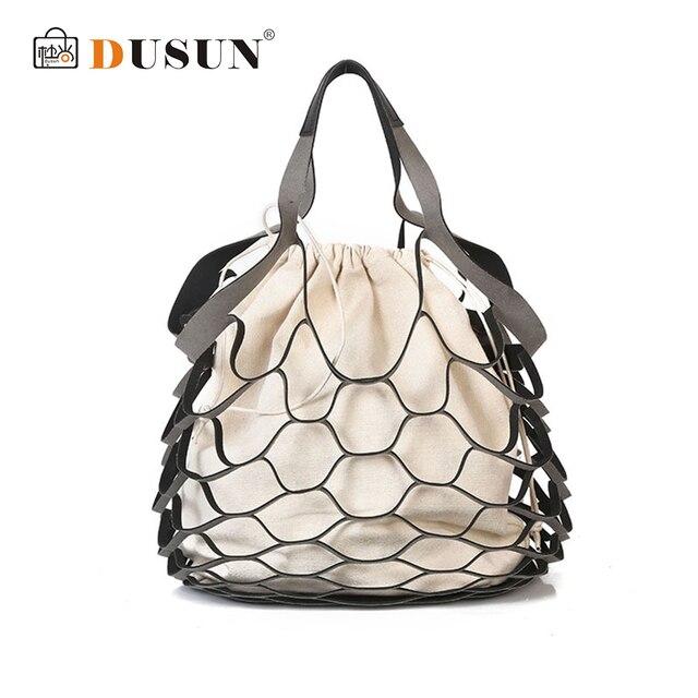 DUSUN Summer Bucket Bag hand-woven Hollow Out Mesh Shoulder handbag Shopping Bag Vintage Knitting Large Capacity Women Beach bag